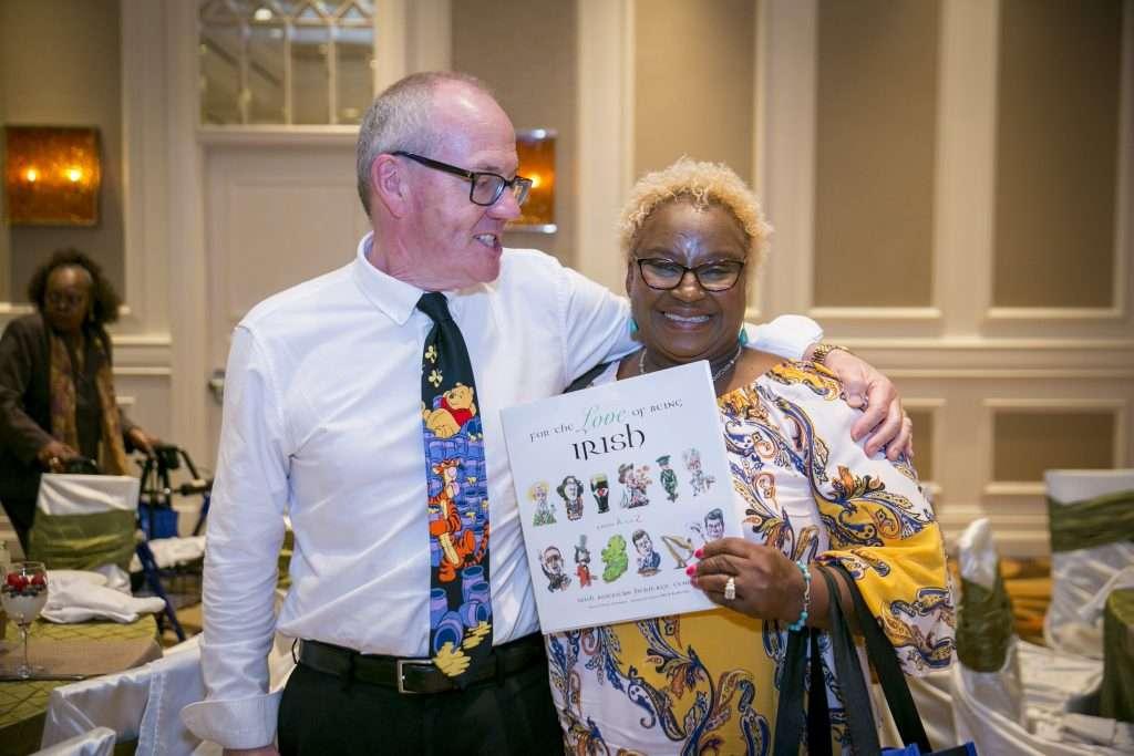 Cancer Survivorship Speaker celebrates with another Cancer Survivor
