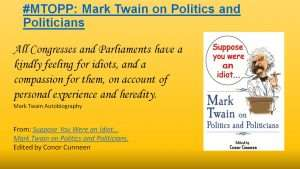 Chicago Motivational Humorous Keynote speaker presents Mark Twain on politics